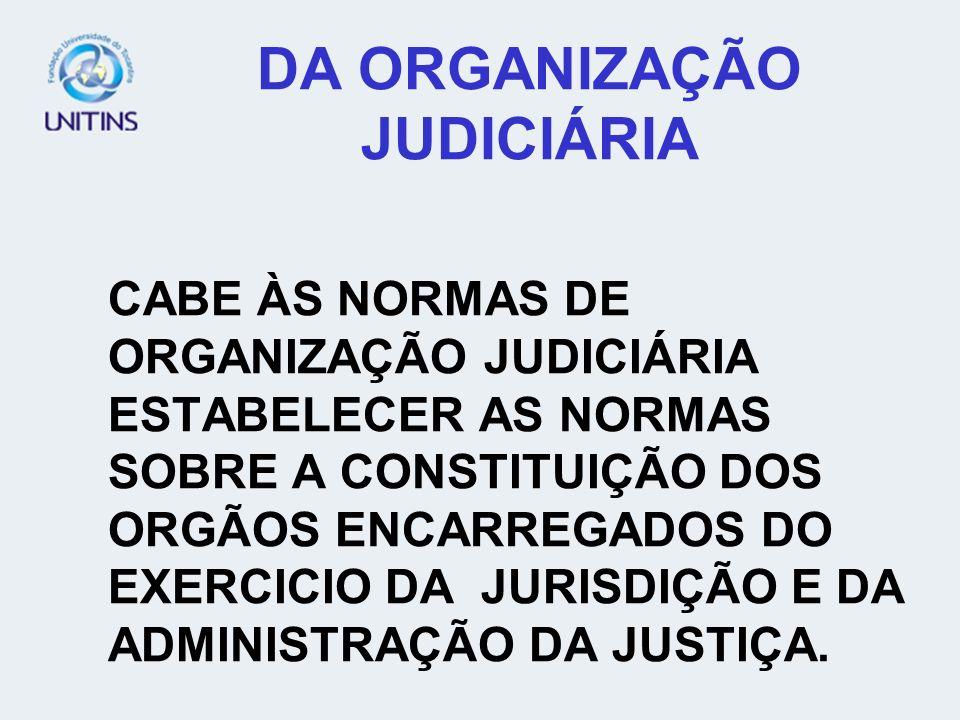 DA ORGANIZAÇÃO JUDICIÁRIA