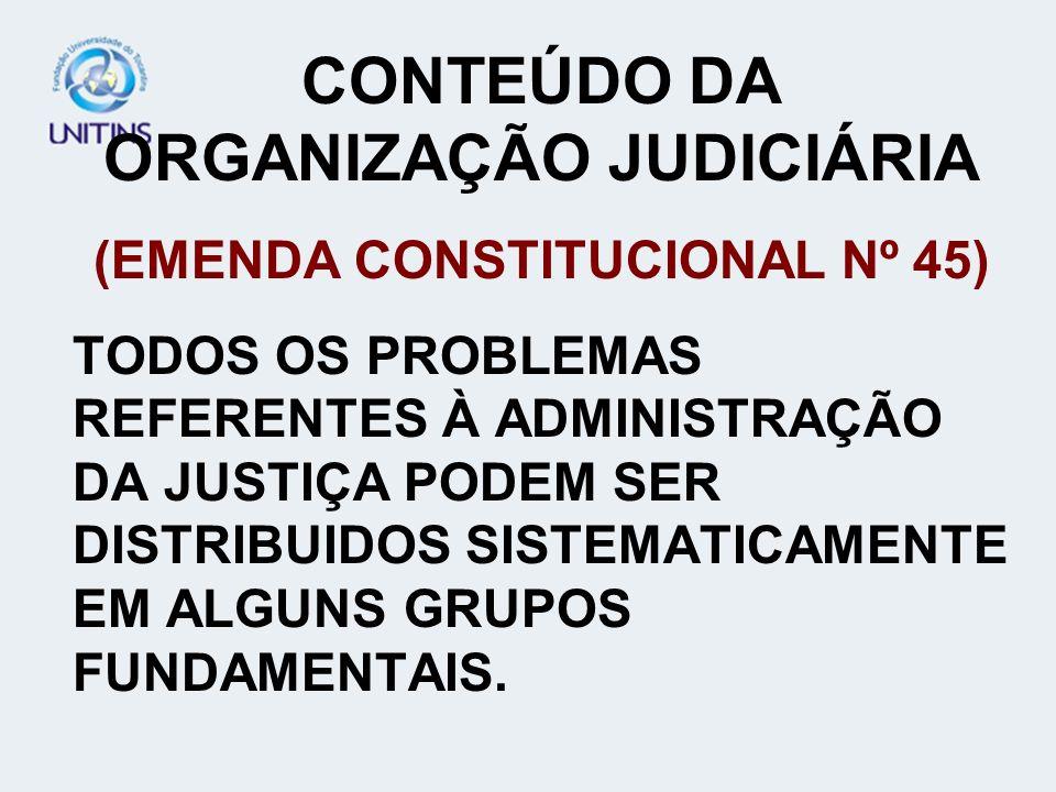 CONTEÚDO DA ORGANIZAÇÃO JUDICIÁRIA (EMENDA CONSTITUCIONAL Nº 45)