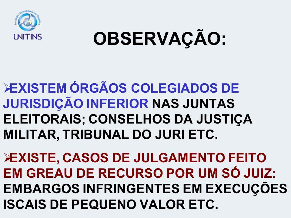 OBSERVAÇÃO: EXISTEM ÓRGÃOS COLEGIADOS DE JURISDIÇÃO INFERIOR NAS JUNTAS ELEITORAIS; CONSELHOS DA JUSTIÇA MILITAR, TRIBUNAL DO JURI ETC.