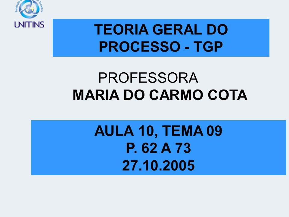 TEORIA GERAL DO PROCESSO - TGP TEORIA GERAL DO PROCESSO - TGP