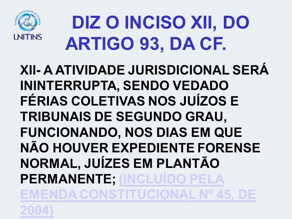 DIZ O INCISO XII, DO ARTIGO 93, DA CF.
