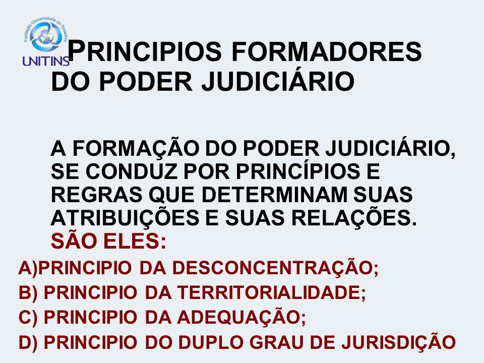 PRINCIPIOS FORMADORES DO PODER JUDICIÁRIO