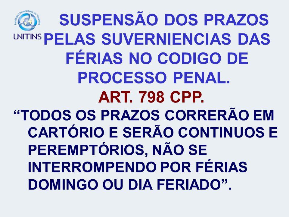 SUSPENSÃO DOS PRAZOS PELAS SUVERNIENCIAS DAS FÉRIAS NO CODIGO DE PROCESSO PENAL.