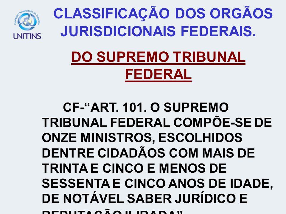 CLASSIFICAÇÃO DOS ORGÃOS JURISDICIONAIS FEDERAIS.