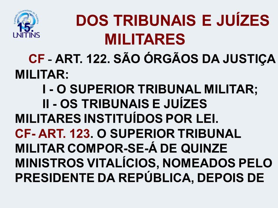 DOS TRIBUNAIS E JUÍZES MILITARES