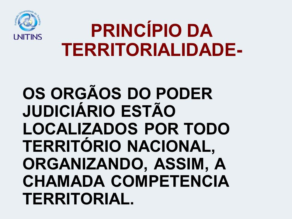 PRINCÍPIO DA TERRITORIALIDADE-