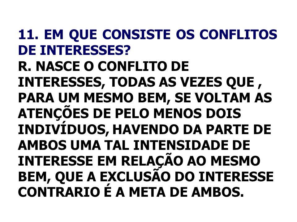 11. EM QUE CONSISTE OS CONFLITOS DE INTERESSES