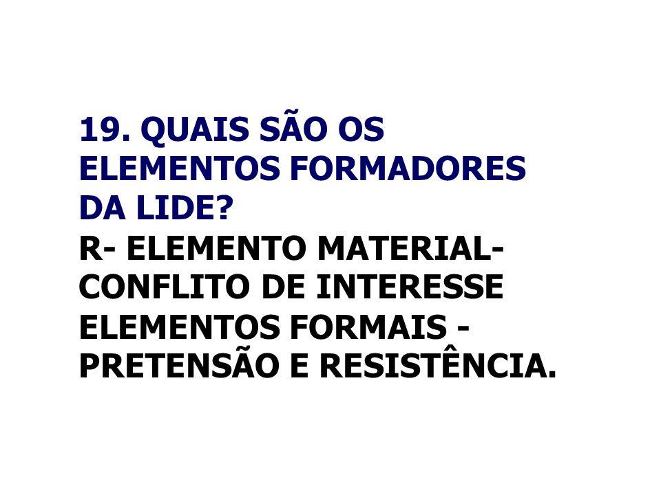 19. QUAIS SÃO OS ELEMENTOS FORMADORES DA LIDE