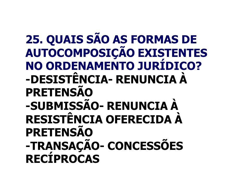 25. QUAIS SÃO AS FORMAS DE AUTOCOMPOSIÇÃO EXISTENTES NO ORDENAMENTO JURÍDICO