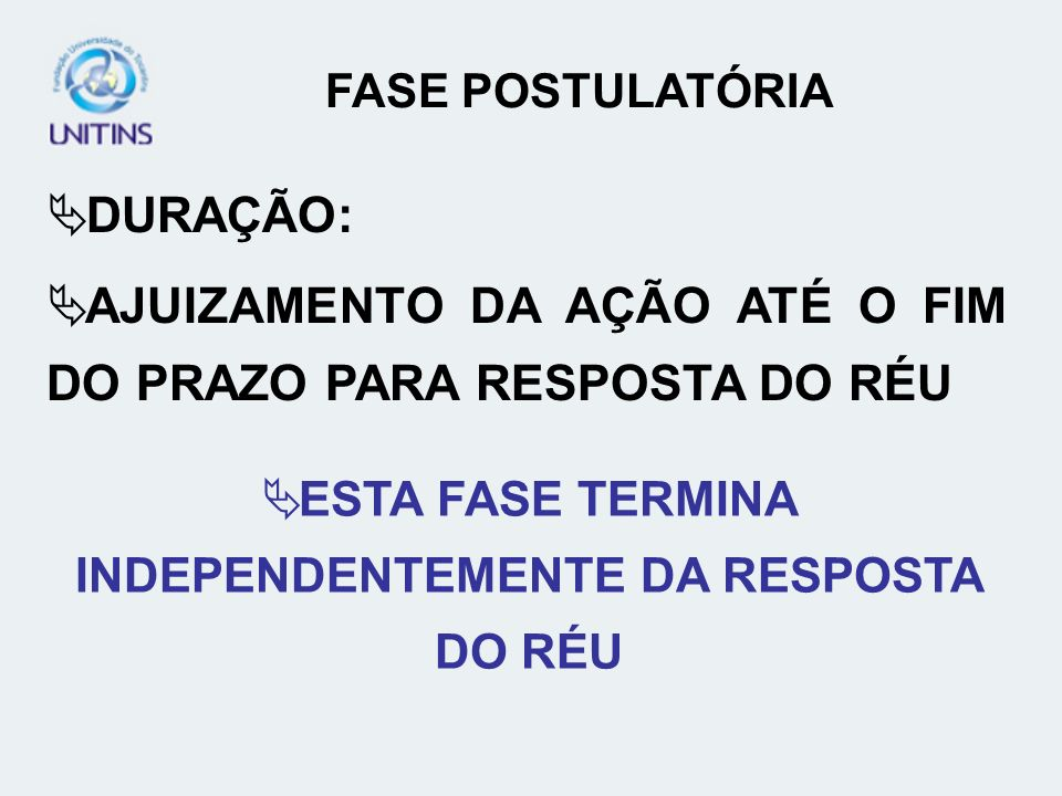 ESTA FASE TERMINA INDEPENDENTEMENTE DA RESPOSTA DO RÉU