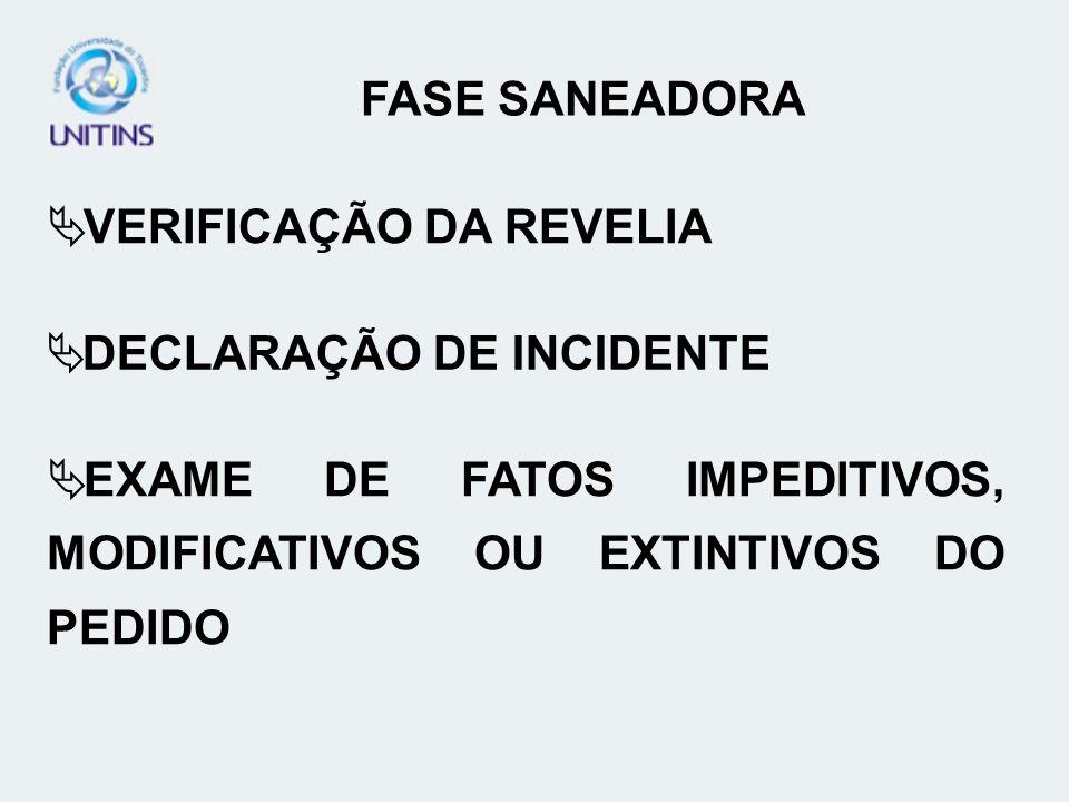 FASE SANEADORA VERIFICAÇÃO DA REVELIA. DECLARAÇÃO DE INCIDENTE.