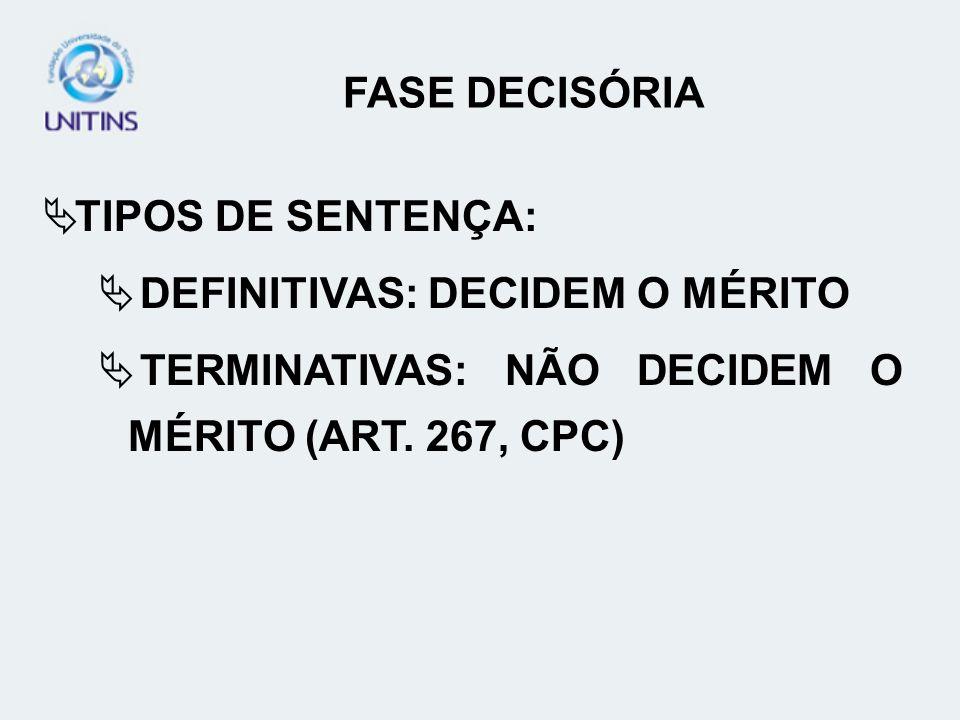 FASE DECISÓRIA TIPOS DE SENTENÇA: DEFINITIVAS: DECIDEM O MÉRITO.