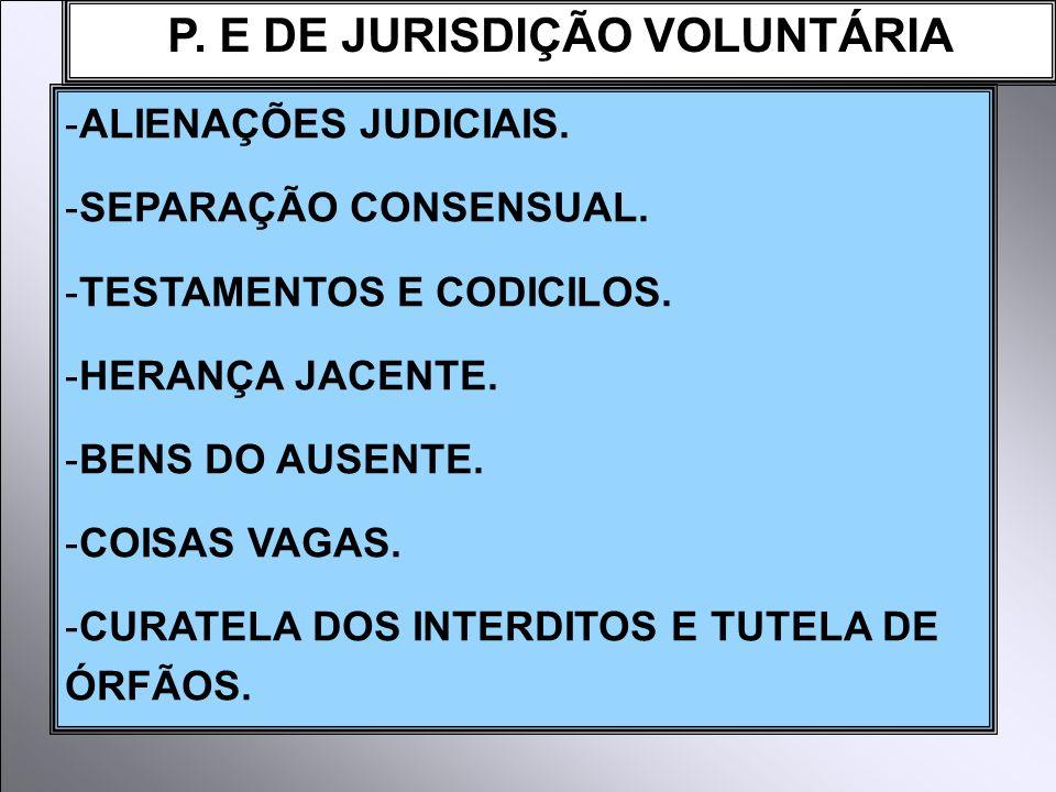 P. E DE JURISDIÇÃO VOLUNTÁRIA