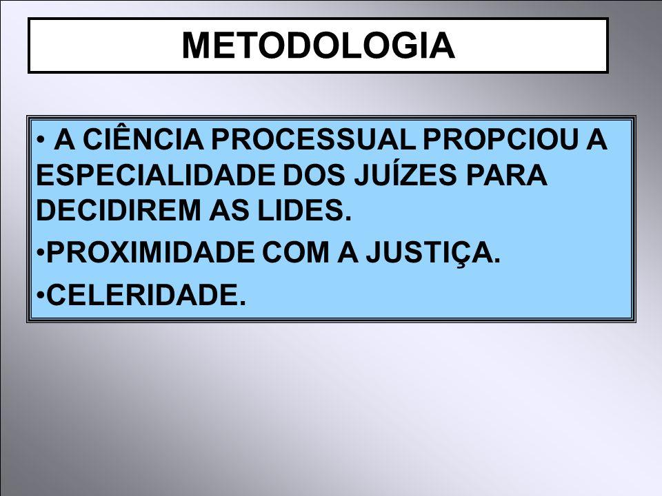 METODOLOGIA A CIÊNCIA PROCESSUAL PROPCIOU A ESPECIALIDADE DOS JUÍZES PARA DECIDIREM AS LIDES. PROXIMIDADE COM A JUSTIÇA.