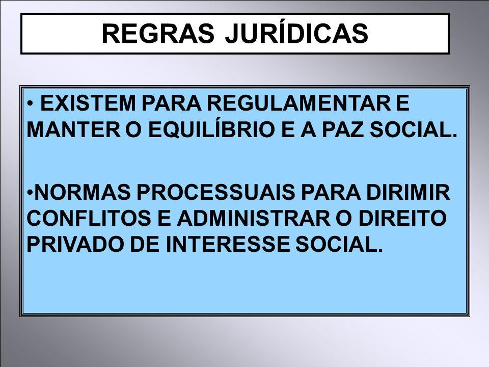 REGRAS JURÍDICAS EXISTEM PARA REGULAMENTAR E MANTER O EQUILÍBRIO E A PAZ SOCIAL.