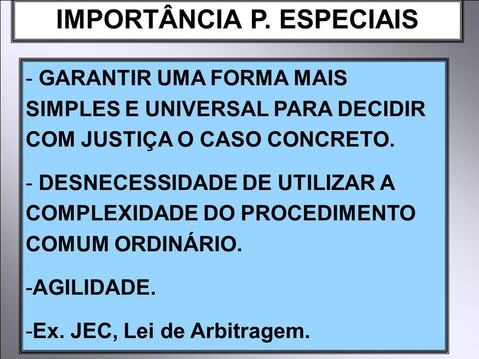 IMPORTÂNCIA P. ESPECIAIS