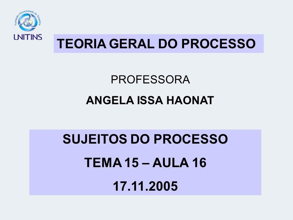 SUJEITOS DO PROCESSO TEMA 15 – AULA 16 17.11.2005