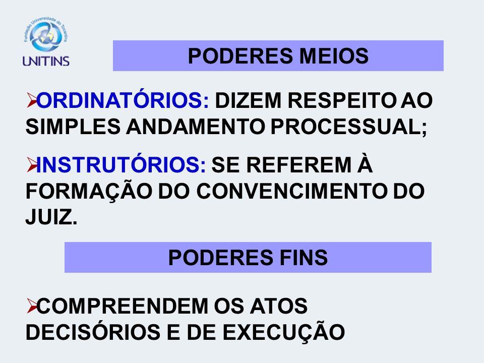 PODERES MEIOS ORDINATÓRIOS: DIZEM RESPEITO AO SIMPLES ANDAMENTO PROCESSUAL; INSTRUTÓRIOS: SE REFEREM À FORMAÇÃO DO CONVENCIMENTO DO JUIZ.