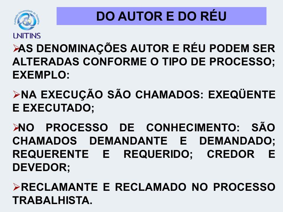 DO AUTOR E DO RÉU AS DENOMINAÇÕES AUTOR E RÉU PODEM SER ALTERADAS CONFORME O TIPO DE PROCESSO; EXEMPLO: