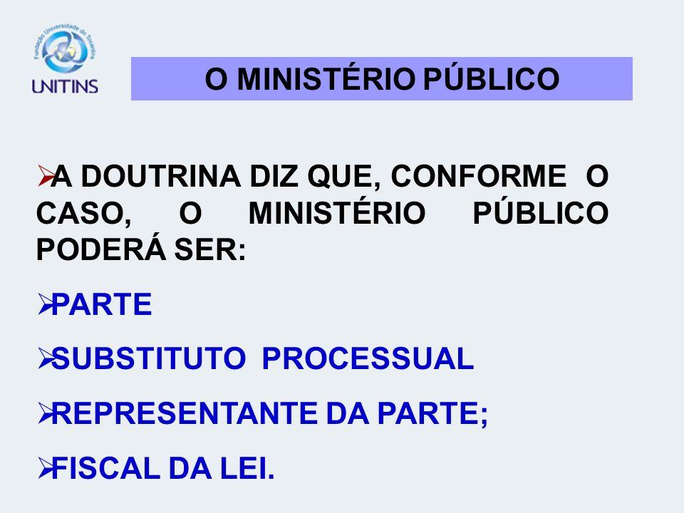 O MINISTÉRIO PÚBLICOA DOUTRINA DIZ QUE, CONFORME O CASO, O MINISTÉRIO PÚBLICO PODERÁ SER: PARTE. SUBSTITUTO PROCESSUAL.