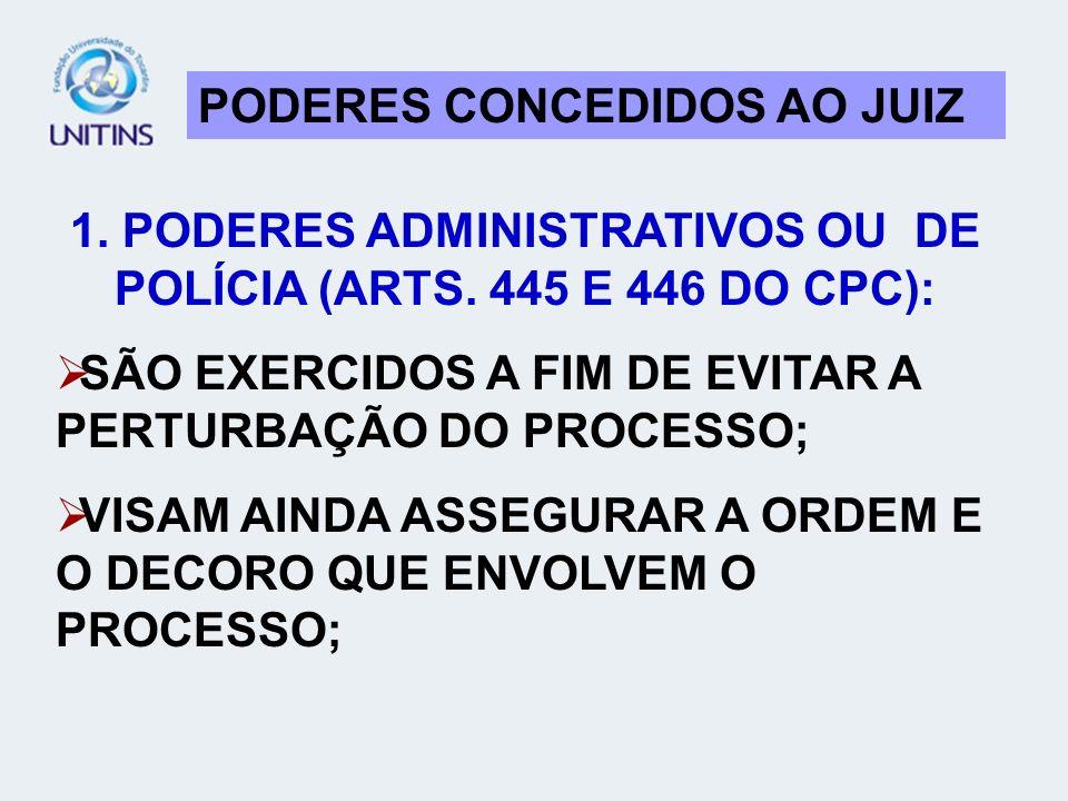 1. PODERES ADMINISTRATIVOS OU DE POLÍCIA (ARTS. 445 E 446 DO CPC):