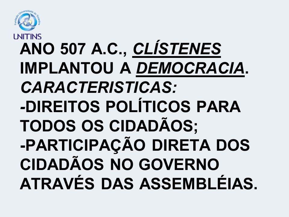 ANO 507 A. C. , CLÍSTENES IMPLANTOU A DEMOCRACIA