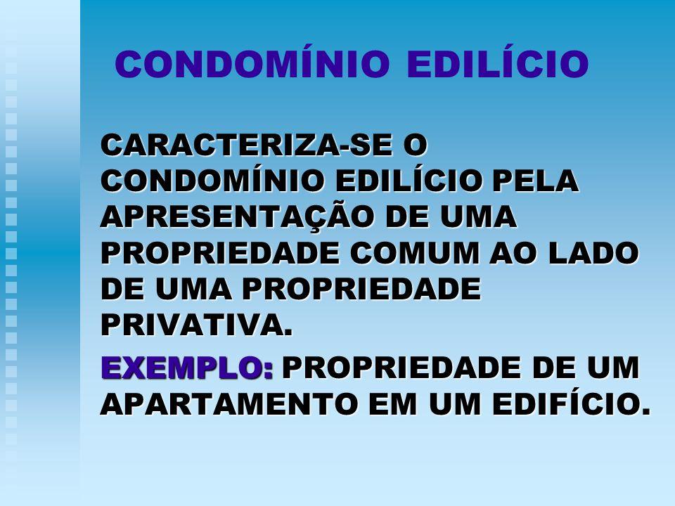 CONDOMÍNIO EDILÍCIO CARACTERIZA-SE O CONDOMÍNIO EDILÍCIO PELA APRESENTAÇÃO DE UMA PROPRIEDADE COMUM AO LADO DE UMA PROPRIEDADE PRIVATIVA.