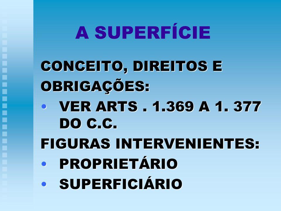 A SUPERFÍCIE CONCEITO, DIREITOS E OBRIGAÇÕES: