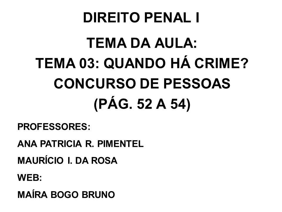 DIREITO PENAL I TEMA DA AULA: TEMA 03: QUANDO HÁ CRIME