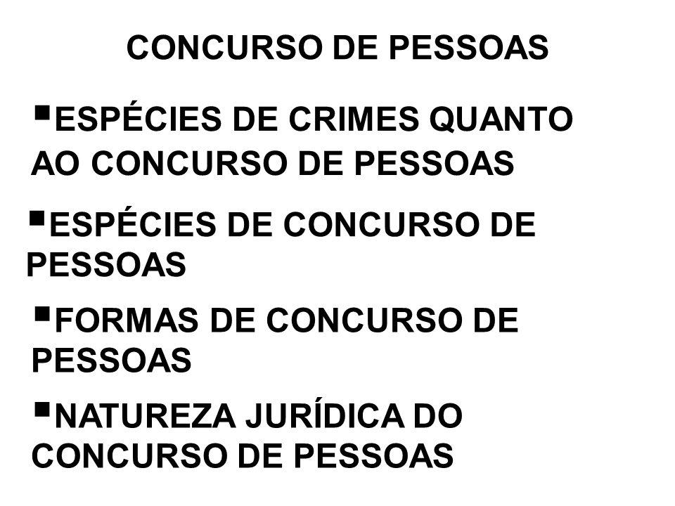 CONCURSO DE PESSOAS ESPÉCIES DE CRIMES QUANTO AO CONCURSO DE PESSOAS. ESPÉCIES DE CONCURSO DE PESSOAS.