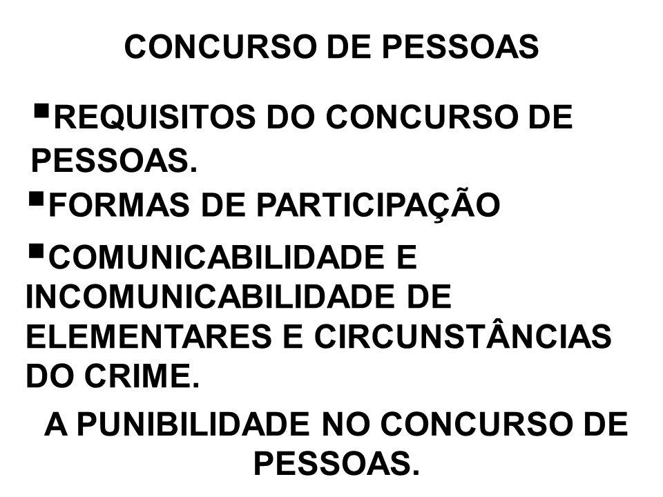 A PUNIBILIDADE NO CONCURSO DE PESSOAS.