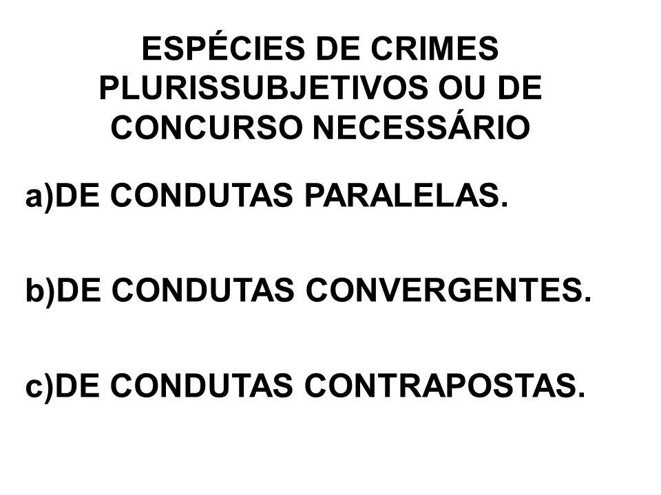 ESPÉCIES DE CRIMES PLURISSUBJETIVOS OU DE CONCURSO NECESSÁRIO