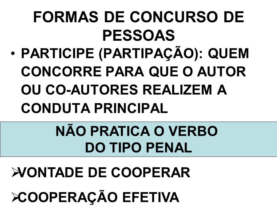 FORMAS DE CONCURSO DE PESSOAS