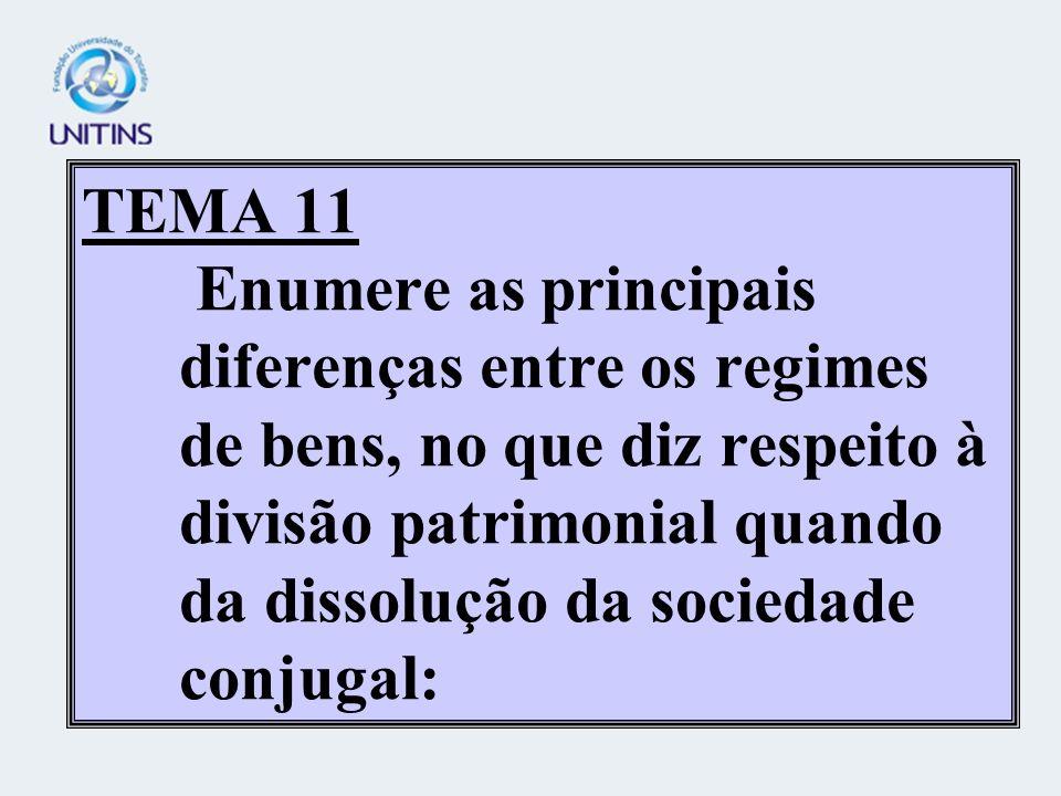 TEMA 11 Enumere as principais diferenças entre os regimes de bens, no que diz respeito à divisão patrimonial quando da dissolução da sociedade conjugal: