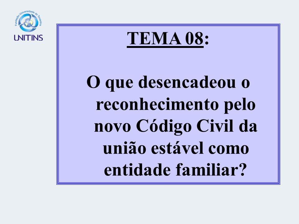 TEMA 08: O que desencadeou o reconhecimento pelo novo Código Civil da união estável como entidade familiar