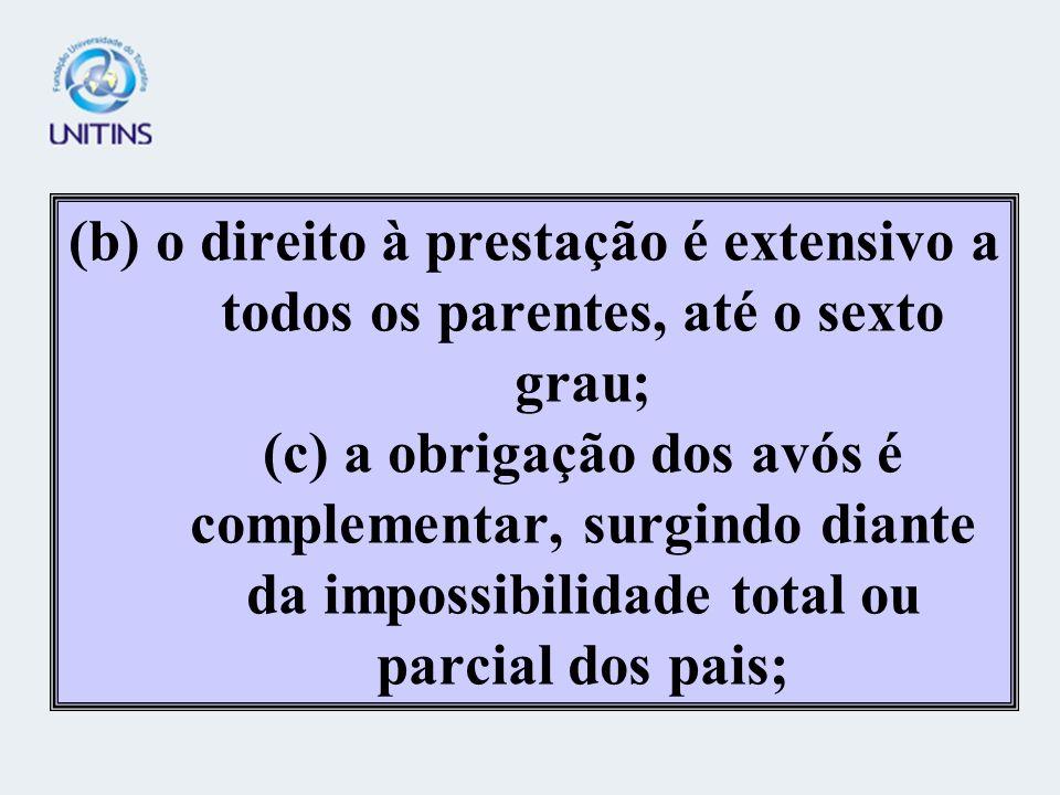 (b) o direito à prestação é extensivo a todos os parentes, até o sexto grau; (c) a obrigação dos avós é complementar, surgindo diante da impossibilidade total ou parcial dos pais;