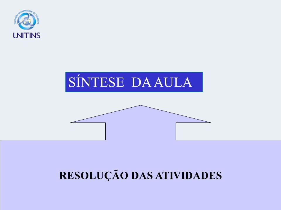 RESOLUÇÃO DAS ATIVIDADES