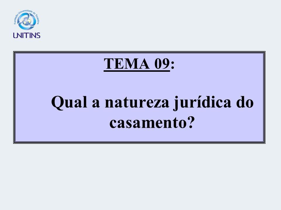 TEMA 09: Qual a natureza jurídica do casamento