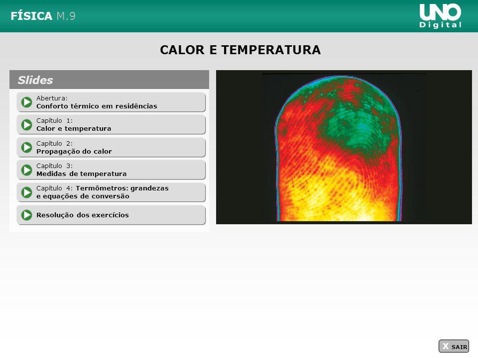 CALOR E TEMPERATURA FÍSICA M.9 Slides X SAIR Abertura: