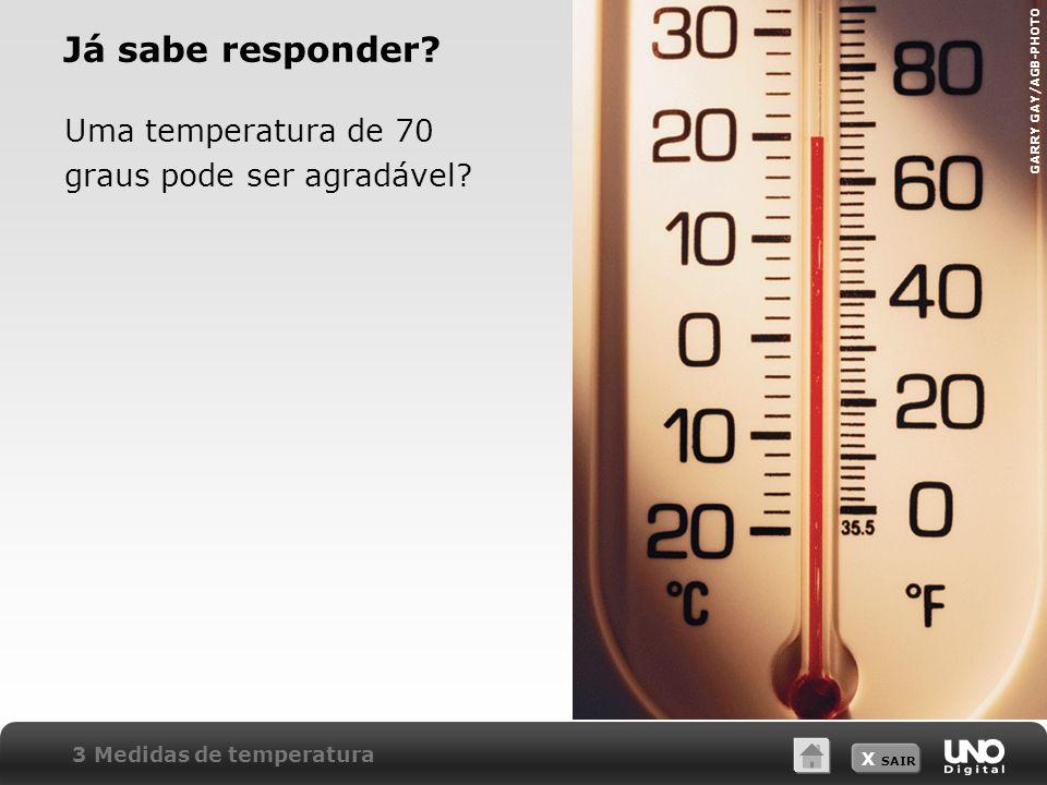 Já sabe responder Uma temperatura de 70 graus pode ser agradável