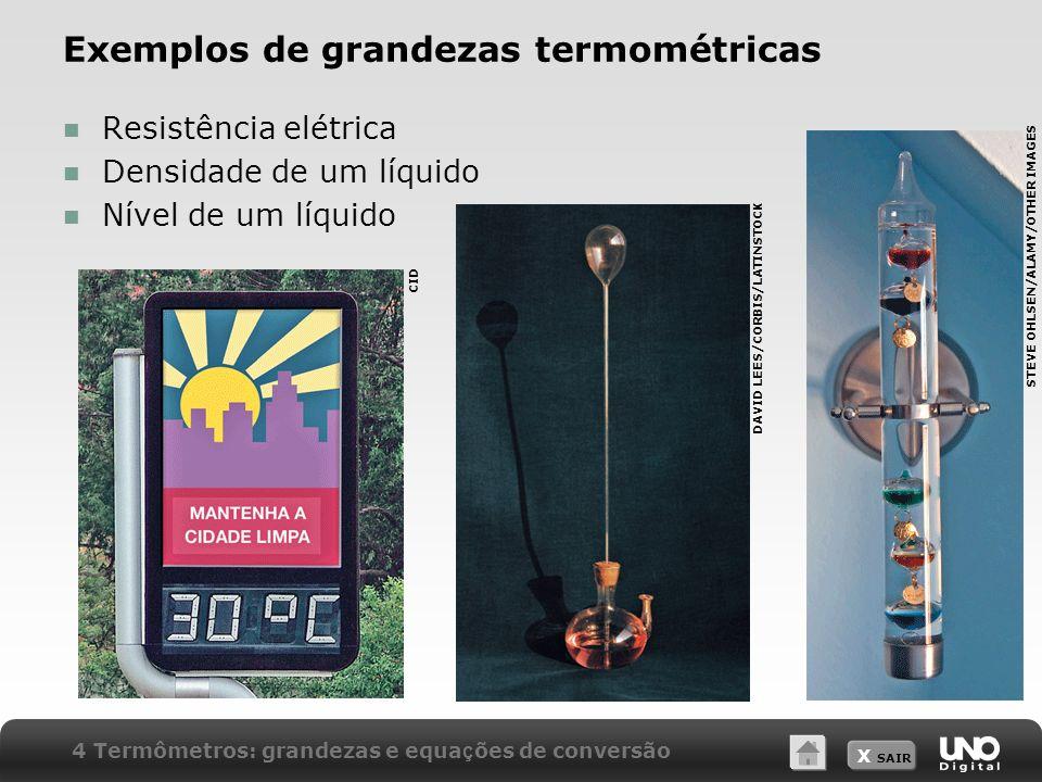 Exemplos de grandezas termométricas