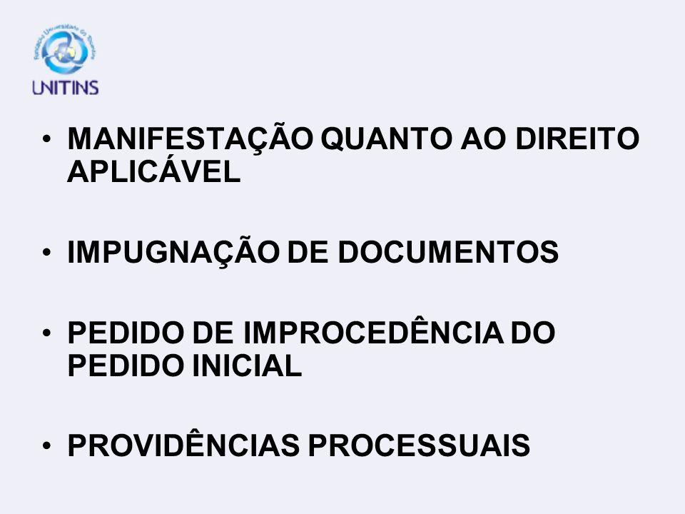 MANIFESTAÇÃO QUANTO AO DIREITO APLICÁVEL