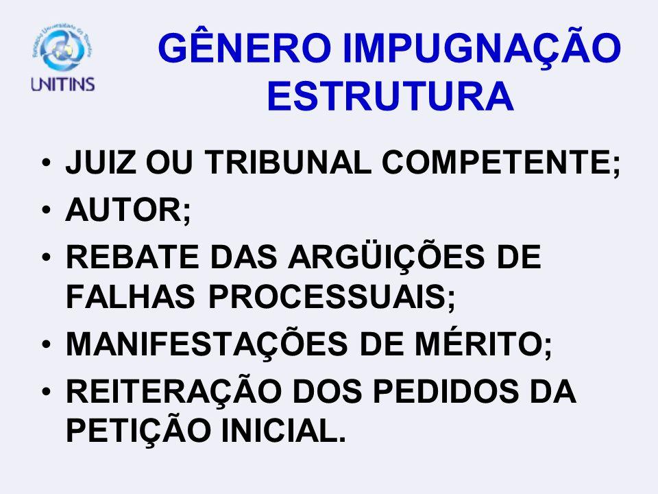 GÊNERO IMPUGNAÇÃO ESTRUTURA