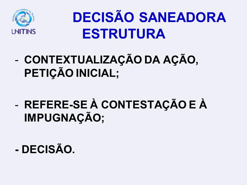 DECISÃO SANEADORA ESTRUTURA