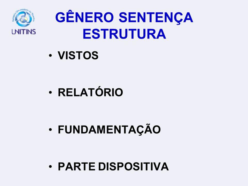 GÊNERO SENTENÇA ESTRUTURA