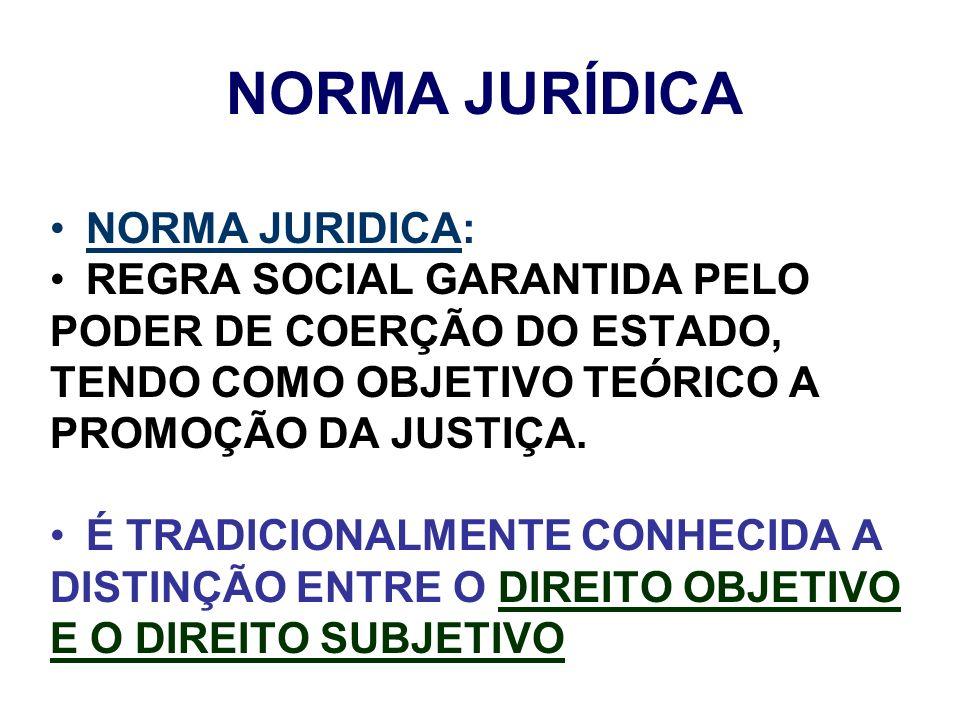 NORMA JURÍDICA NORMA JURIDICA: REGRA SOCIAL GARANTIDA PELO