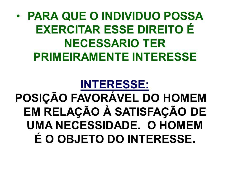 PARA QUE O INDIVIDUO POSSA EXERCITAR ESSE DIREITO É NECESSARIO TER PRIMEIRAMENTE INTERESSE