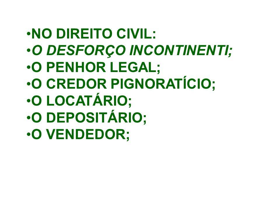 O DESFORÇO INCONTINENTI; O PENHOR LEGAL; O CREDOR PIGNORATÍCIO;