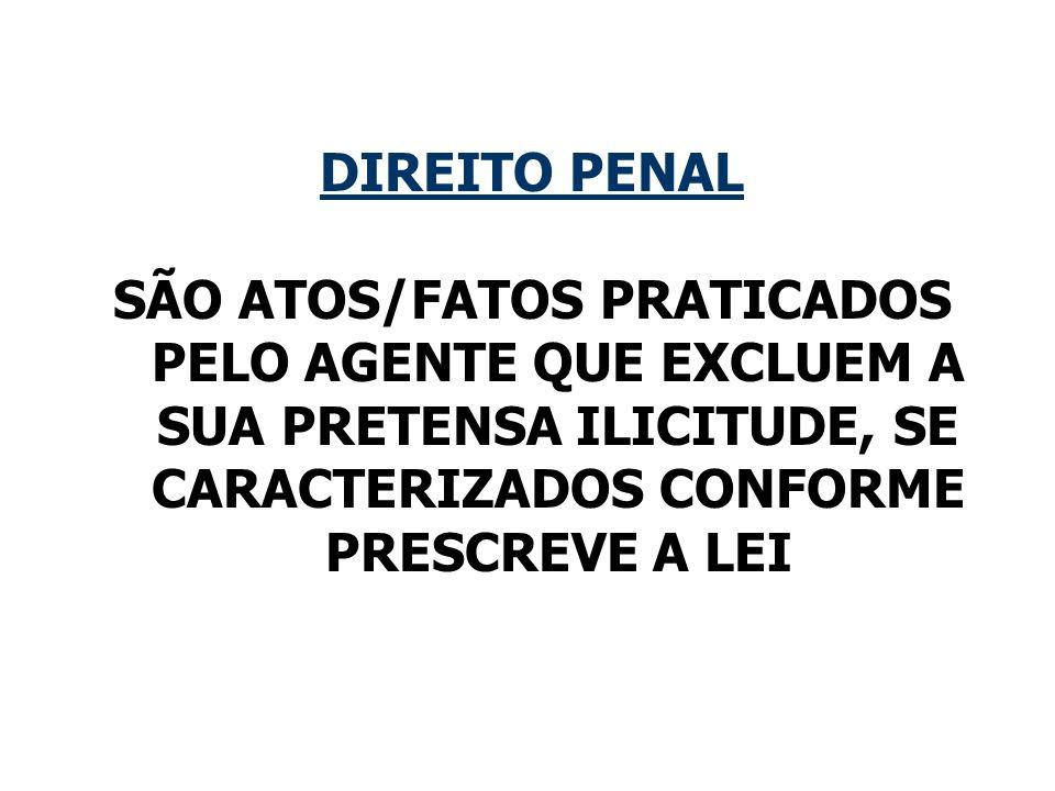 DIREITO PENALSÃO ATOS/FATOS PRATICADOS PELO AGENTE QUE EXCLUEM A SUA PRETENSA ILICITUDE, SE CARACTERIZADOS CONFORME PRESCREVE A LEI.