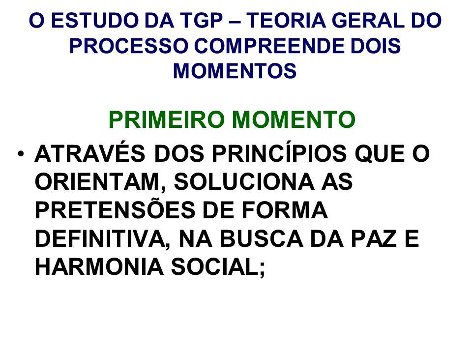O ESTUDO DA TGP – TEORIA GERAL DO PROCESSO COMPREENDE DOIS MOMENTOS